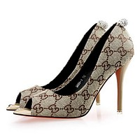 "Hot Sale ""GUCCI"" Fashion Women Water Drill Pointed Heels Sandals High Heels Khaki I12050-1"