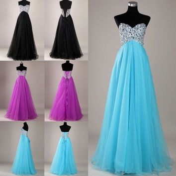 Shining Beaded Off shoulder Evening Formal Ball gown Party Prom Cocktail dresses