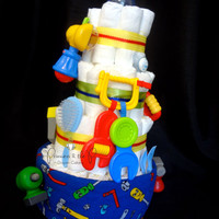Diaper Cake Just Like Dad Baby's First Tools - Baby Shower, construction, Decoration, Centerpiece, Nursery Decor, Dad to be, New dad