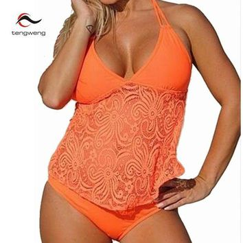 VONETDQ Two Piece Tankini Plus Size Swimwear Women Push Up Beachwear 2017 Lace Bikini Set low Waist Swimsuit BathingSuit Brazilian S-5XL
