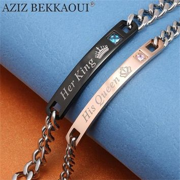 Her King His Queen Couple Stainless Steel Crystal Charm Bracelet Gifts