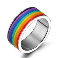SNAZZY Stainless Steel LGBT Rainbow Women's Ring