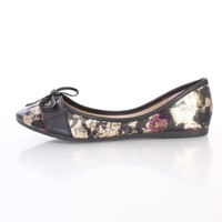 Black Floral Print Corset Vamp Flats Faux Leather
