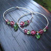 Lovely Pink and Green Hoop Earrings