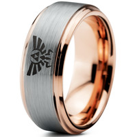 Zelda Hylian Triforce 18k Rose Gold Bevel Tungsten Ring