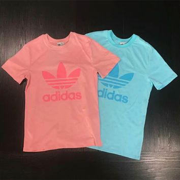 ADIDAS Clover 2018 Summer New Print Small LOGO Couple Short Sleeve T-Shirt F-XMCP-YC