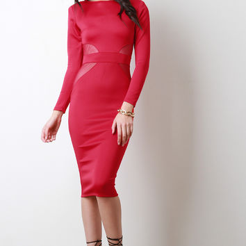 Semi-Sheer Mesh Panel Long Sleeve Midi Dress