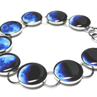 Phases Of The Moon Bracelet in Blue Handmade Silver Resin Bracelet Moon Jewelry Space Bracelet Christmas Gift Solar System Blue Moon