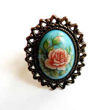 Vintage Rose Statement Ring Blue Turquoise Cabochon Portrait Large Cocktail Adjustable Band VTG Flowers Floral