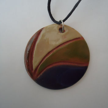 FREE SHIPPING! Handmade pottery pendant. Clay medallion. Blue, beige, green waves.