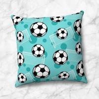 Soccer Ball and Goal Teal Faux Suede Pillow