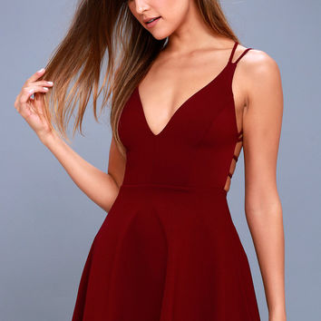 Believe in Love Wine Red Backless Skater Dress