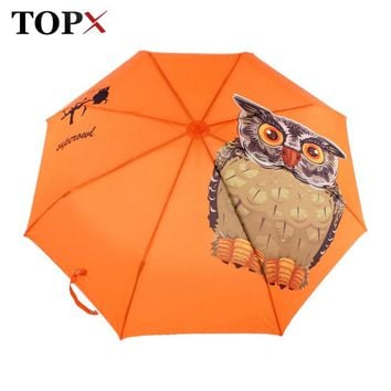 Lightweight Original Animal Owl Printed Automatic 3 Fold Umbrella Women Windproof Sun Protection Clear Kids Umbrella Rain Women