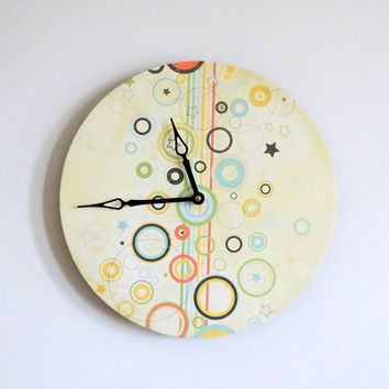 Art Deco Wall Clock, Retro Clock, Decor and Housewares, Home Decor, Home and Living, Unique Gift Idea