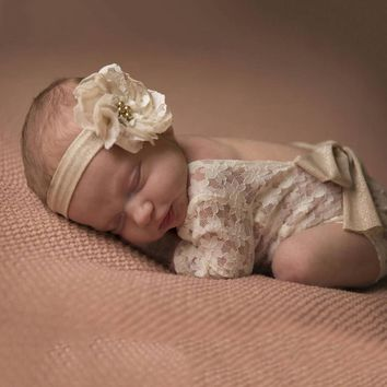 Petals & Lace Newborn Long Sleeve Lace Romper