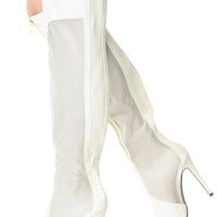Cream Knee High Mesh Zipper Accent Pointed Toe Boots