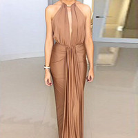 Camel Halter Jersey Evening Dress with Ruffled Trim
