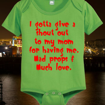 I Love Mom Baby Shirt Funny Infant Tee Newborn T Shirt Hilarious Maternity Gift Boys Girls Green White Pink Yellow  Short Sleeve 0 6 12 18