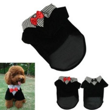 Fashion Small Pet Dog Clothes Western Style Men's Suit Bow Tie Puppy Costume [8361352263]