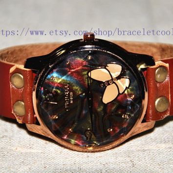 Retro style watch,Butterfly wrist watch bracelet, Brown Leather Bracelet Watch, Handmade Women's Watch, Men Watch CP62