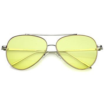 0d3de66721a16 Retro Metal Frame Double Nose Bridge Color Flat Lens Aviator Sun
