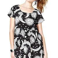 Black Moon Printed Chiffon Dress
