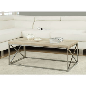 Modern Rectangular Coffee Table with Natural Wood Top & Metal Legs