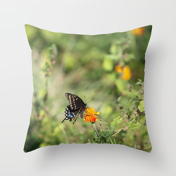 Black Swallowtail In The Garden Throw Pillow by Theresa Campbell D'August Art