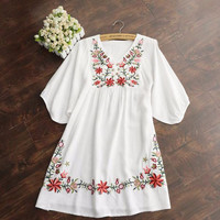 Mexican Floral Embroidered Peasant Top or Mini Dress