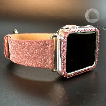 Apple Watch Band 38mm 40mm 42mm 44mm Womens Series 1, 2,3, 4 Sparkly Pink Soft Leather Crystal and Bling Iwatch Candy Smart Watch Straps