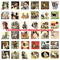 puppy dogs vintage art postcards clip art digital download collage sheet 1 inch squares graphics images pendant printables magnets pins