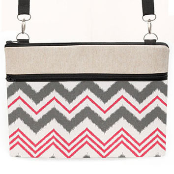 "13"" Laptop Cross body Bag, MacBook sleeve w/ straps, Macbook Air 13"" Shoulder Bag, 11 inch MacBook Crossbody - pink, gray, white chevron"