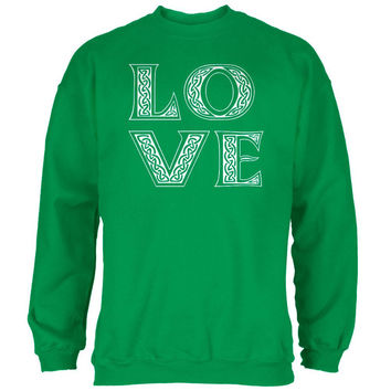 St. Patricks Day Celtic LOVE Irish Green Adult Sweatshirt