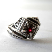 Art Deco Sterling and Red Garnet Men's Ring