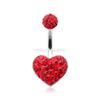 Multi-Gem Sparkle Heart Multi-Gem Belly Button Ring (Red)
