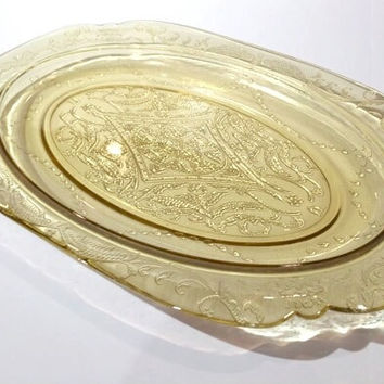 Federal Madrid Serving Platter, Yellow Depression Glass Platter, Federal Glass Madrid Pattern Oval Serving Tray, Madrid Serving Platter
