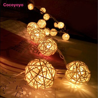Top Sell Storm Cream White Rattan Ball Fairy Lights  Ideal Wedding Christmas and Party American Plug [7981611719]