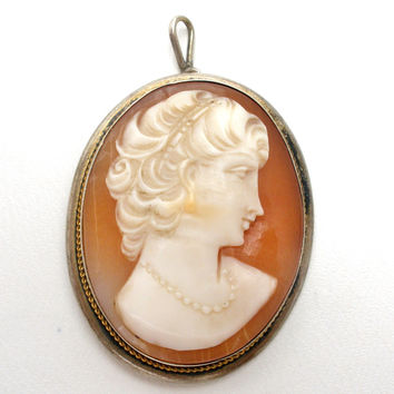 Antique Carved Shell Cameo Pendant Sterling Silver