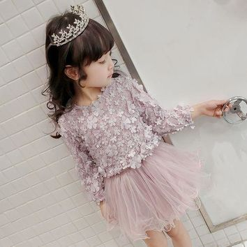 Floral Lace Dress for Children Girls Cute Formal Banquet Dress Fluffy Casual