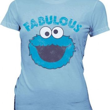 Sesame Street Fabulous Cookie Monster Polar Blue Juniors T-shirt