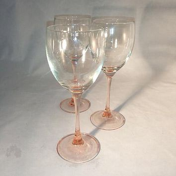 French Peachy Pink Stemmed Wine Glasses   S/3