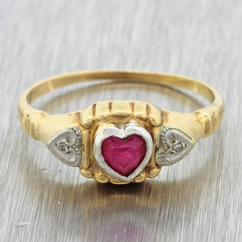 1940s Antique Art Deco Estate 14k Yellow Gold Platinum Ruby Heart Diamond Ring