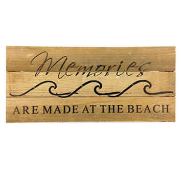Memories Are Made At The Beach (with Waves) - Reclaimed Wood Art Sign - 14-in x 6-in