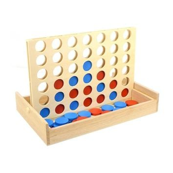 Wooden Connect Four in a Row Line Em' Up Board Game