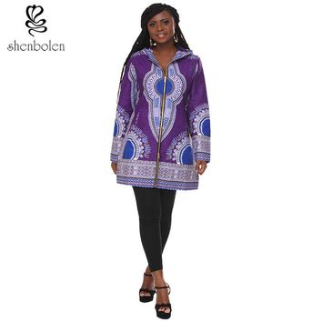 2017Fashion hoodies jacket Africa long sleeve printed lady dashiki wind coat women traditional classic batik prining cotton coat