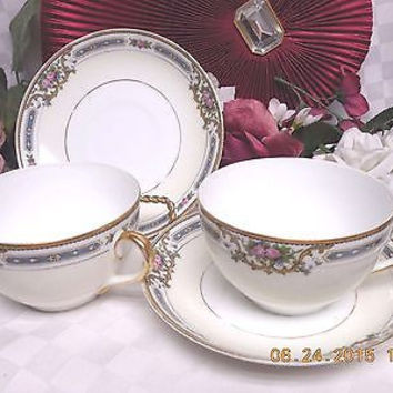 Noritake M ,White China dinnerware Ybry #76832 set 2 Over-sized Cup and saucer