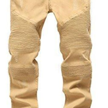 HCXX Men 's Khaki Biker Moto Distressed Destroyed Fashion Skinny Slim Fit Jeans