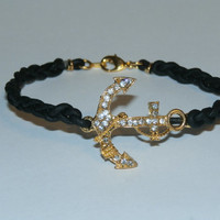 Bracelet - Leather - And - Gold - Colored - Anchor