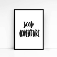 Seek Adventure Print, Black and White, Typography, Typographic Print, Dorm Decor, Dorm Art, Apartment Decor Adventure Poster Adventure