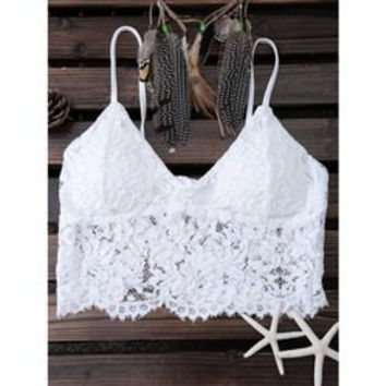 Alluring Padded Lace Women's White Tank Top